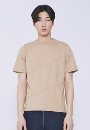 Trwa트와 STITCH STRIPE T-SHIRTS(BEIGE)