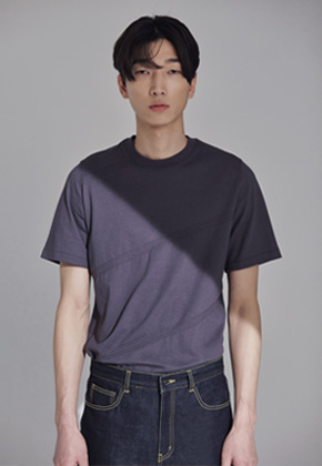 Trwa트와 STITCH STRIPE T-SHIRTS(GRAY)