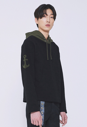 Trwa트와 ANCHOR HOODY T-SHIRTS(BLACK)