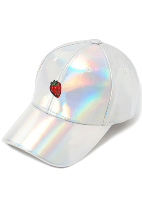 HATER헤이터 Strawberry Embroidery Cap Shiny Holographic