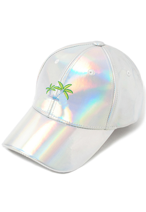 HATER헤이터 Coconut Tree Embroidery Cap Shiny Holographic