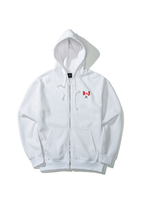 Pound파운드 Flag Zip-up Hoodie White