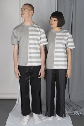 Nonwashed논워시드 UNISEX RECONSTRUCTED STRIPE T-SHIRTS / GREY