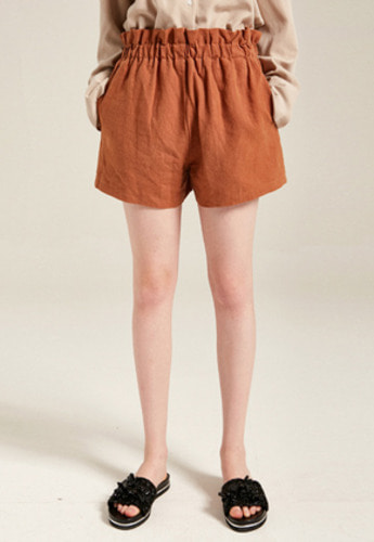 Yan13얀써틴 HIGHWAIST FRILL SHORT PANTS_BROWN
