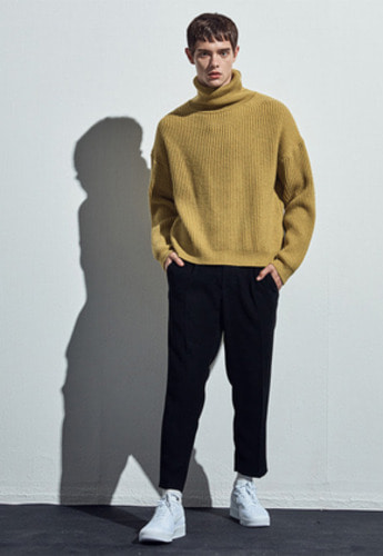Haleine알렌느 MUSTARD Drops houlder Turtleneck Knit CT004