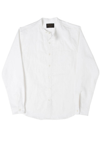 Needlework니들워크 Naval Band Collar Shirts White