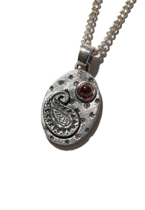 Kruchi크루치 Paisley version - 2 necklace (silver,red)