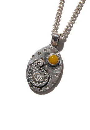 Kruchi크루치 Paisley version - 2 necklace (silver,yellow)