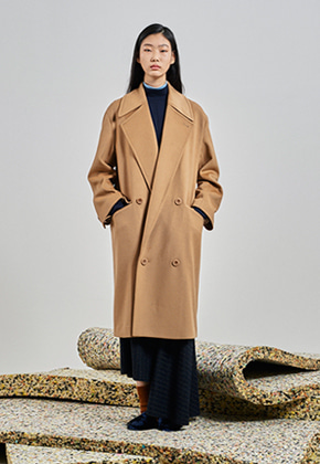 [UNISEX] Tailored Double Breasted Long Coat_Camel