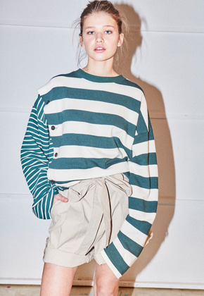 NOHANT노앙 DOUBLE STRIPED COTTON-JERSEY T-SHIRT STRIPE-GREEN