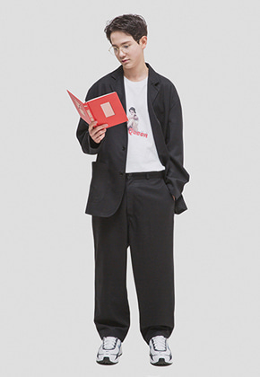 WKNDRS위캔더스 OVERSIZED TROUSER (BLACK)
