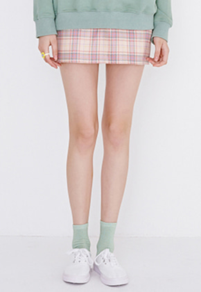 Margarin Fingers마가린핑거스 CHECK MINI SKIRT(PINK)
