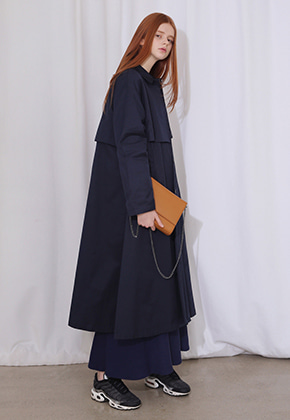 More or Less모어올레스 LONG TRENCH COATNAVY