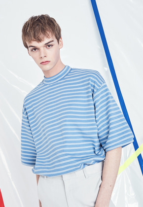 Voiebit브아빗 V323 TWO WAY STRIPE HALF-TEE  SKYBLUE