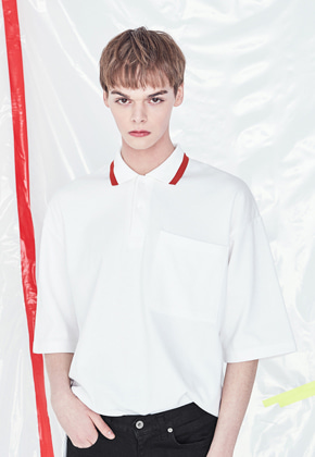 Voiebit브아빗 V327 LINE COLOR PIQUE SHIRT  WHITE