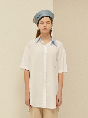 13Month써틴먼스 BELTED HALF LONG SHIRT (WHITE)