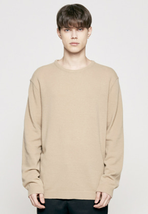 Insilence인사일런스 CASHMERE CREW NECK KNIT beige