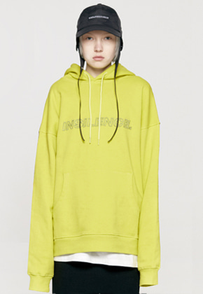 Insilence인사일런스 OUTLINE LOGO HOODIE yellow green
