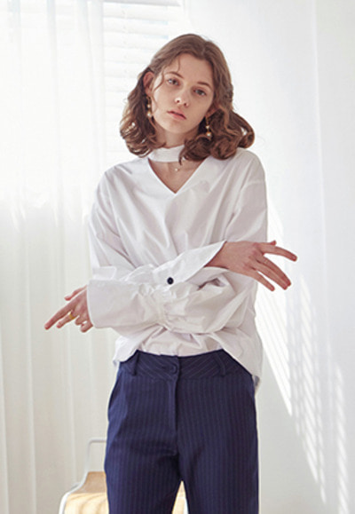 Yan13얀써틴 STRAP FORMAL BLOUSE_WHITE