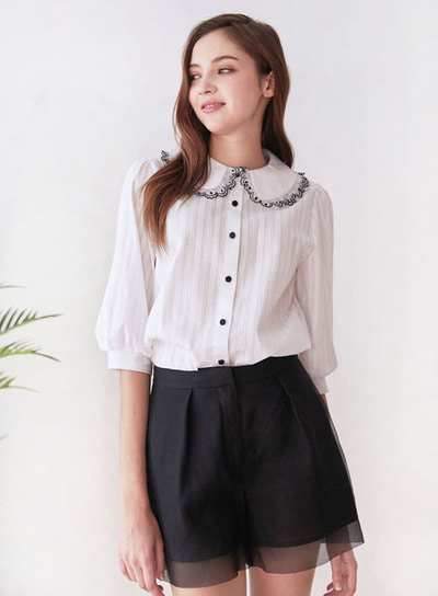 Mintaretro민타레트로 Alvin Lace Point Blouse
