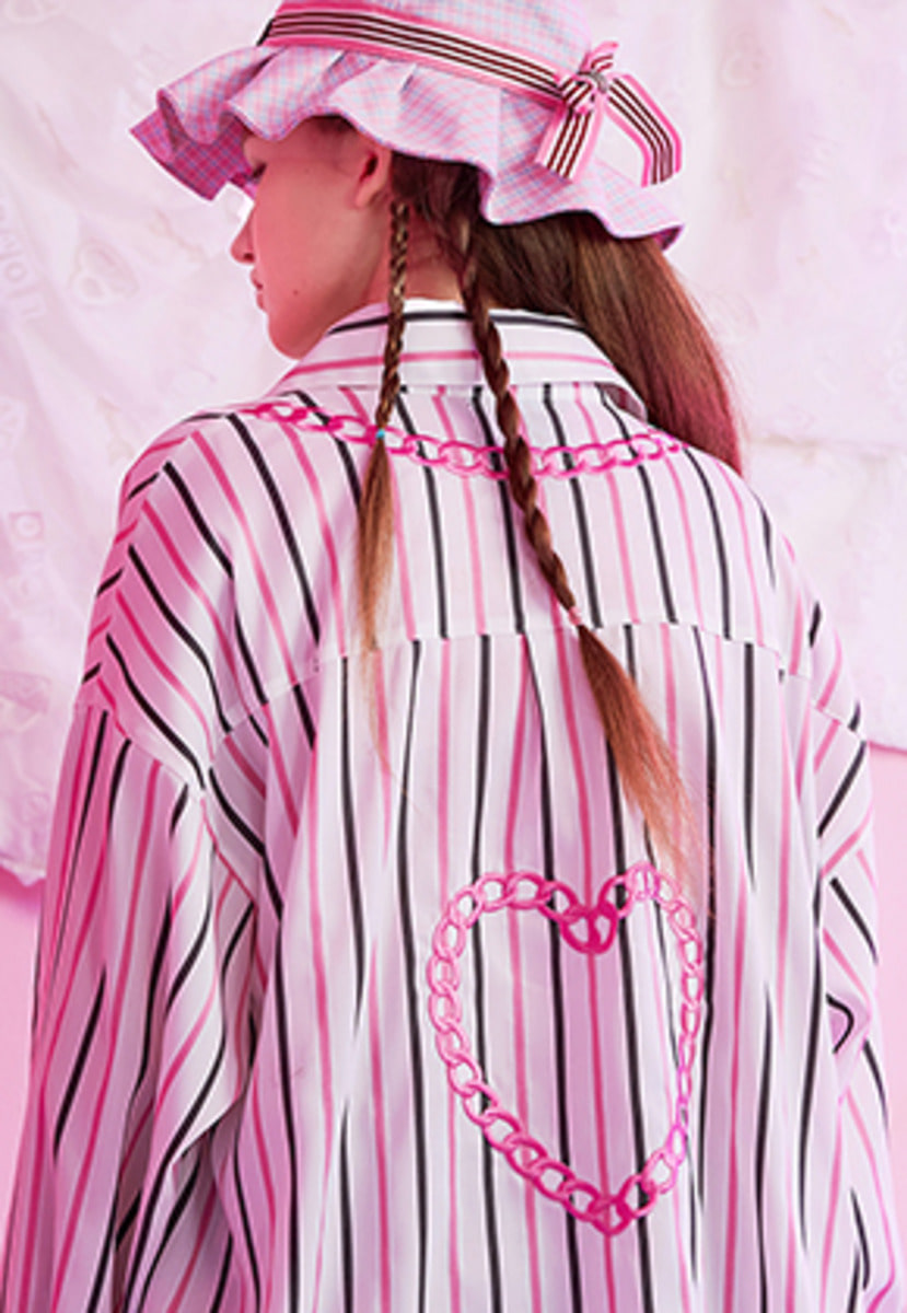 VVV브이브이브이 VVV PINK HEART CHAIN STRIPE SHIRT