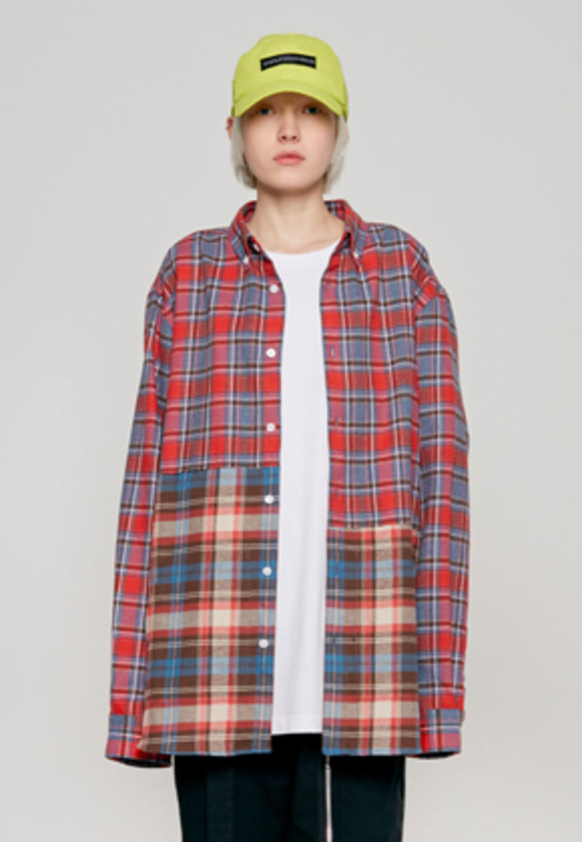 Insilence인사일런스 2 CUT POCKET SHIRT red