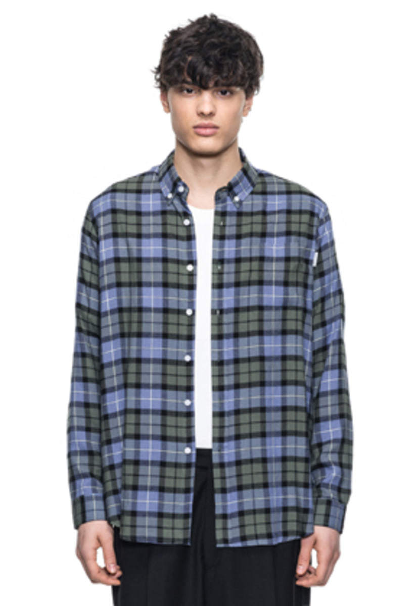 Reve De Agneau레브드앙뉴 LOOSEFIT RAYON CHECK SHIRTS(GREEN)