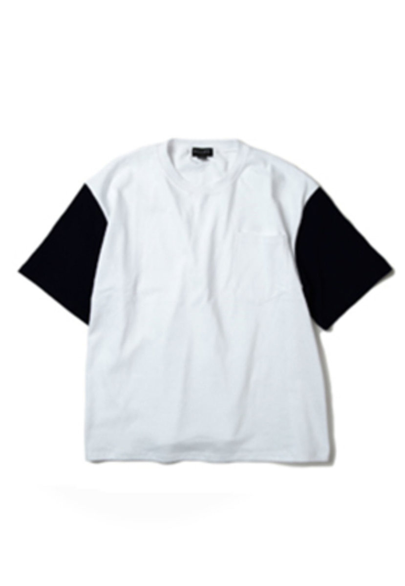 Ballute발루트 COLOR SLEEVE POCKET T-SHIRT (white / navy)