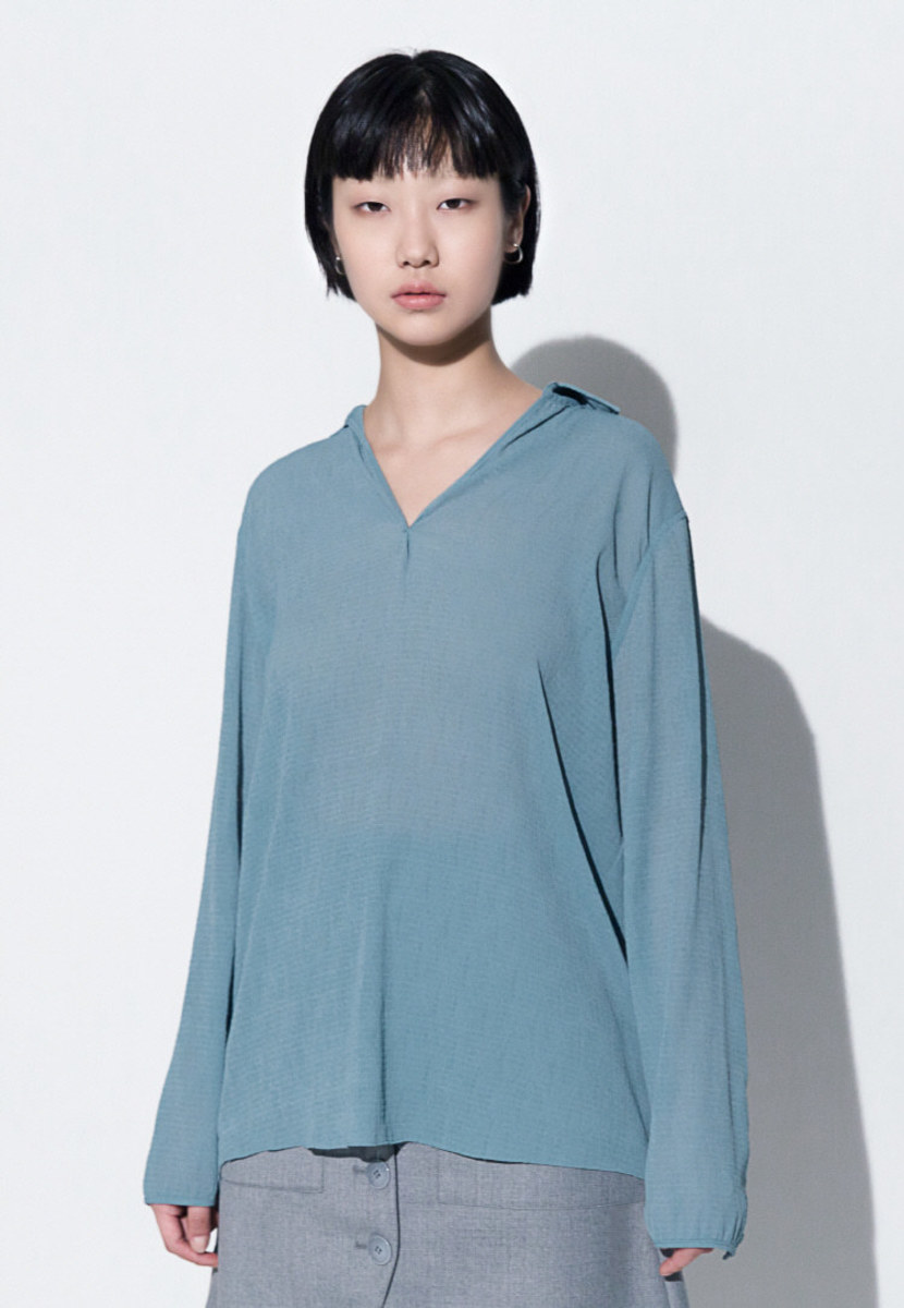 Trwa트와 V-NECK CHIFFON BLOUSE(MINT GREEN)