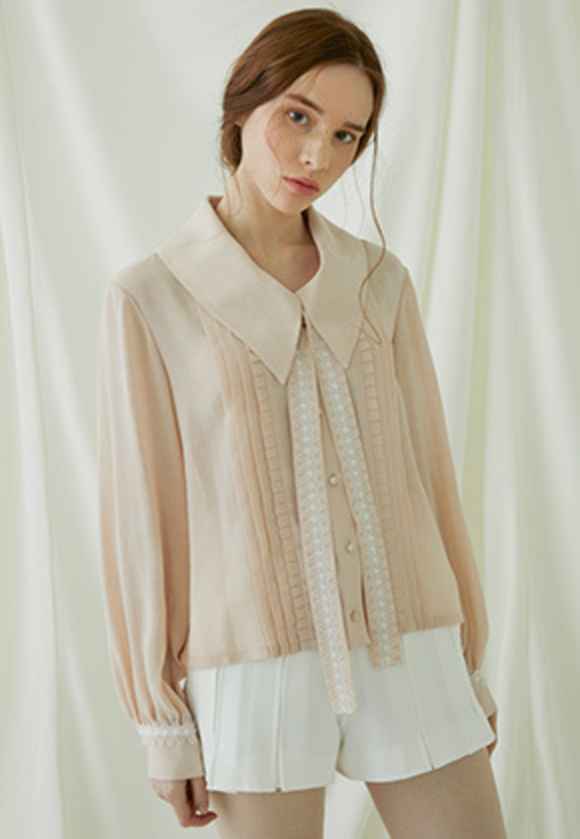 Millogrem밀로그램 Pleats Lace Binding Blouse - pink