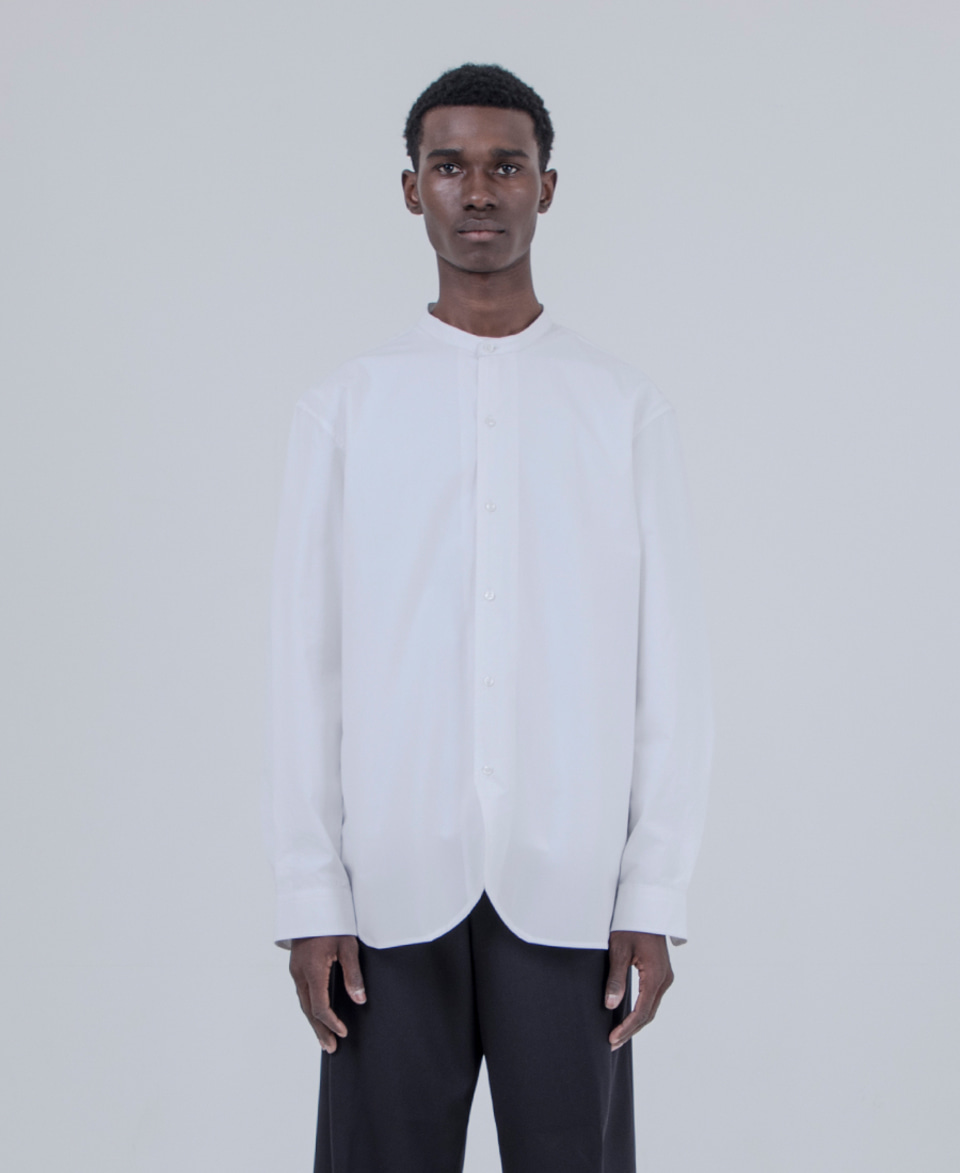 Keymun키먼 Trim & Stand Collar Shirt (White)