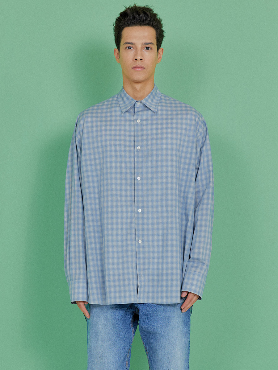 INDIGO CHILDREN인디고칠드런 OVERSIZED CHECK TAIL SHIRT  [SKY BLUE]