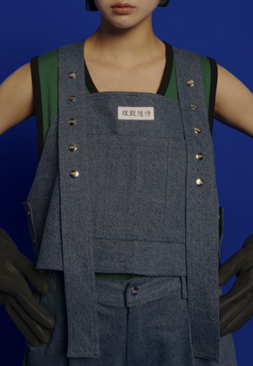 ESC Studio이에스씨스튜디오 Button denim vest (blue)