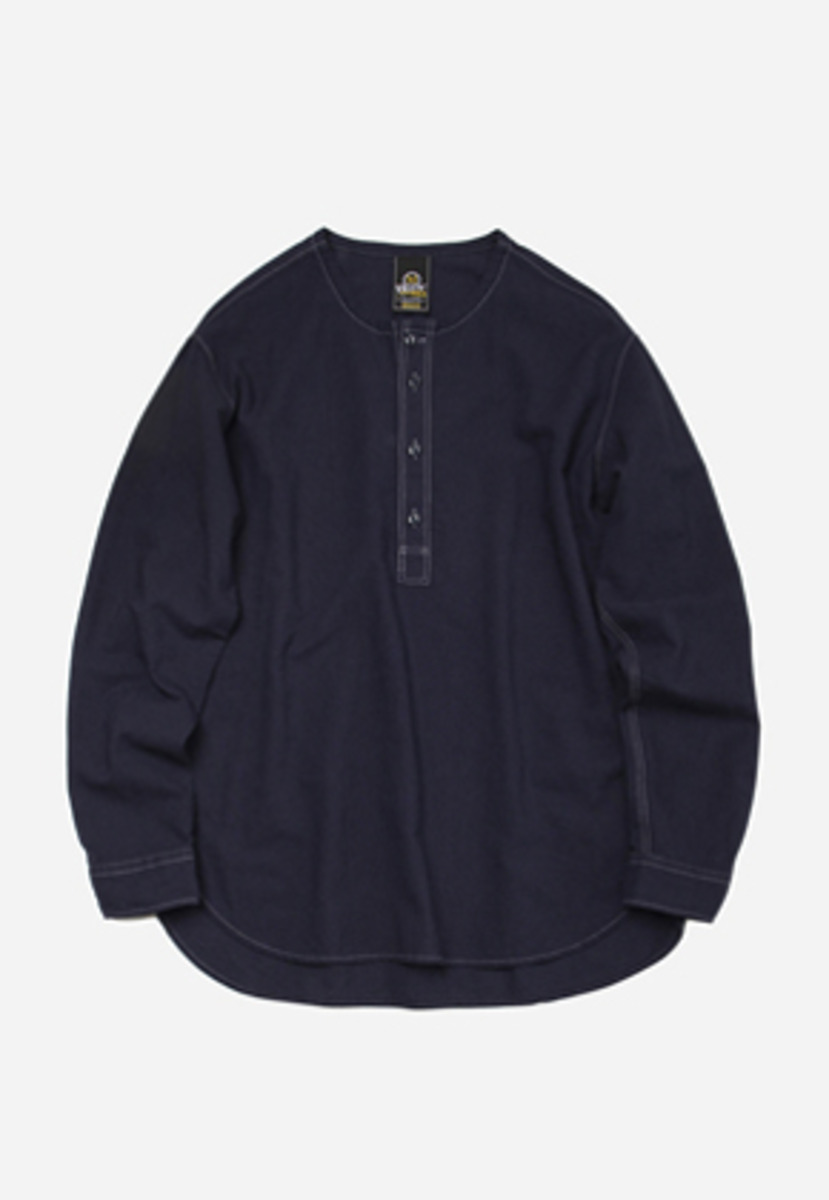 FRIZMWORKS프리즘웍스 Low density henley neck shirt _ navy