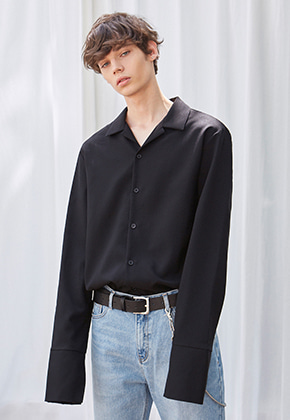 Yan13얀써틴 WIDE LONG OPEN COLLAR SH_BLACK