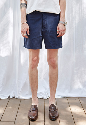 Yan13얀써틴 BENDING COTTON SHORTS PANTS_NAVY