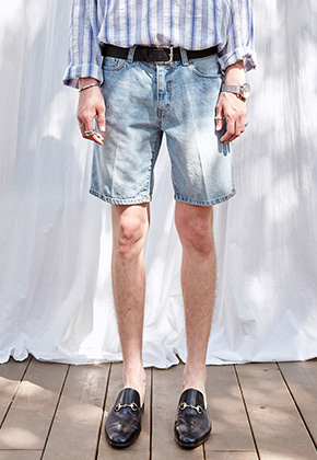 Yan13얀써틴 NATURAL WASHING DENIM SHORTS_DENIM