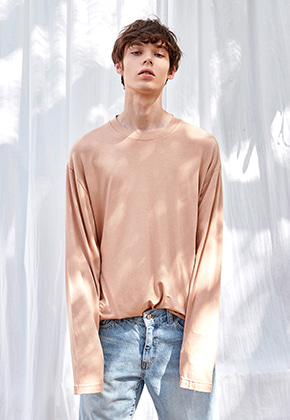 Yan13얀써틴 ELASTIC ROUND LONG T-SHIRTS_PEACH
