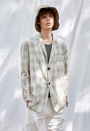 Yan13얀써틴 SOFT TAILORED SINGLE JACKET_CHECK BEIGE