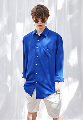 Yan13얀써틴 BREAST POCKET LONG SH_ROYAL BLUE
