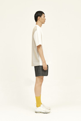 SEC세크 [Unisex] Back Check - Blocked T-Shirt _ White / Yellow and Grey Check