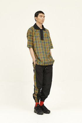 SEC세크 [Unisex] Oversized Polo Shirt _ Tropical Coloured Check