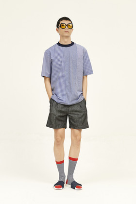 SEC세크 [Unisex] Pixelated Shirting Top _ Royal Blue
