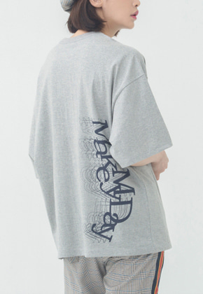 Romantic Crown로맨틱크라운 Overlap Logo T Shirt_Grey