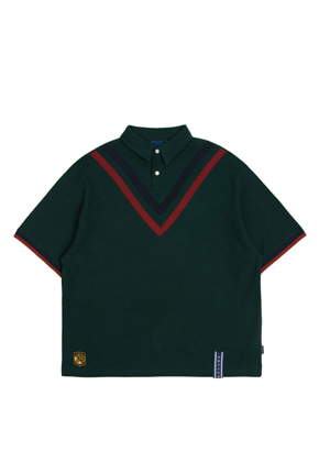 Romantic Crown로맨틱크라운 Chest Point Collar T Shirt_Green