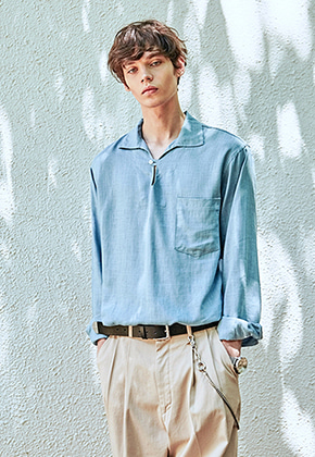 Yan13얀써틴 BUTTON COLLAR PULLOVER SH_SKY BLUE