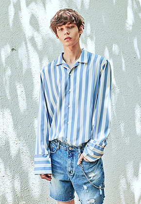 Yan13얀써틴 BOLD ST WIDE CUFFS SH_SKY BLUE