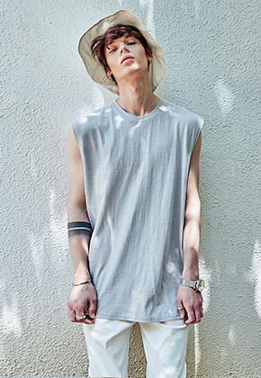 Yan13얀써틴 AIR SLUB SLEEVELESS_LIGHT GRAY