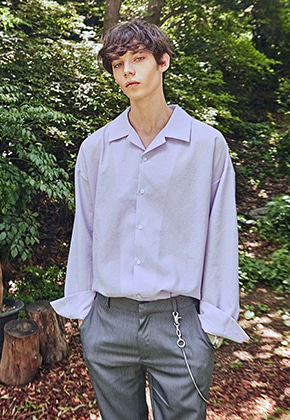Yan13얀써틴 MILKY WIDE OPEN COLLAR SH_VIOLET