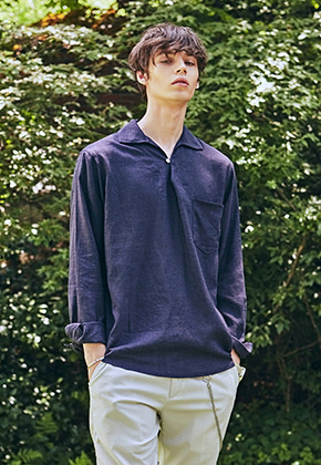 Yan13얀써틴 BUTTON COLLAR PULLOVER SH_NAVY